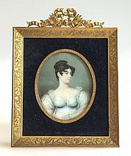 A Miniature Portrait of Lady Elizabeth Leveson-Gower in Bronze Dore Frame, B Altman & Co