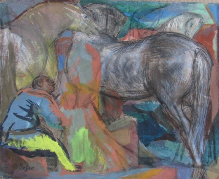 Josef Presser (American, 1907-1967), Readying the Horses, Gouache and Charcoal