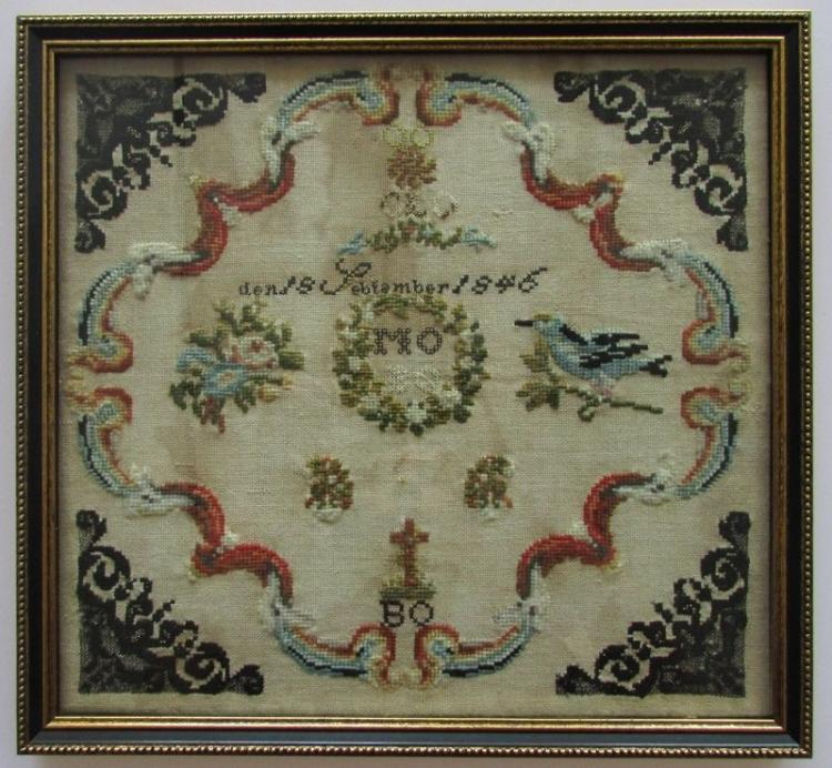 19th Century German Needlework Sampler, Dated 1846
