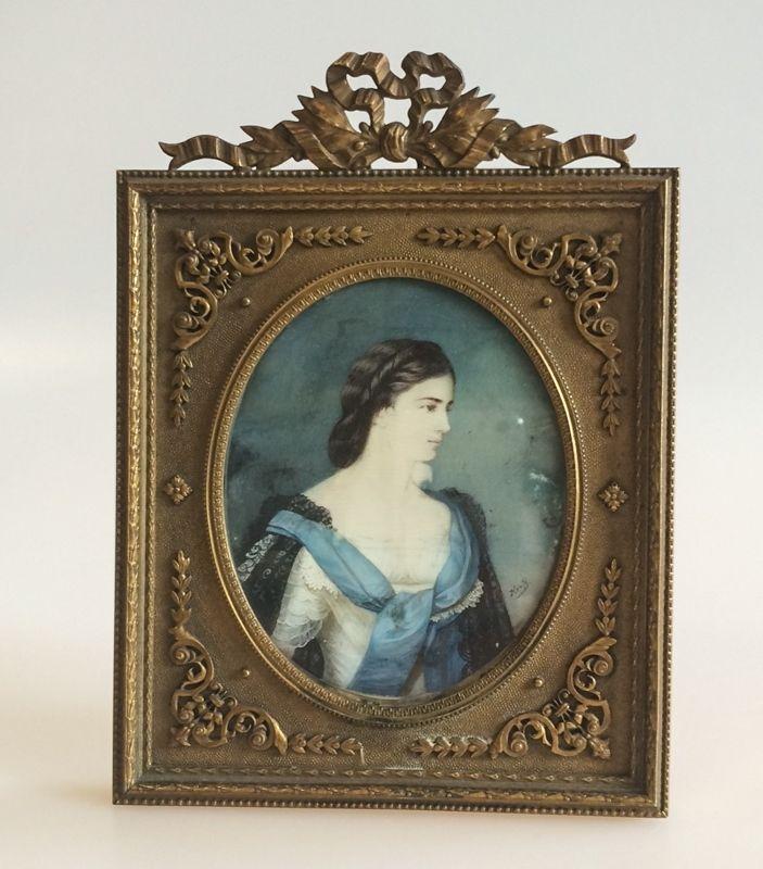 A Miniature Portrait Painting Empress Elisabeth of Austria Sisi in Bronze Dore Frame