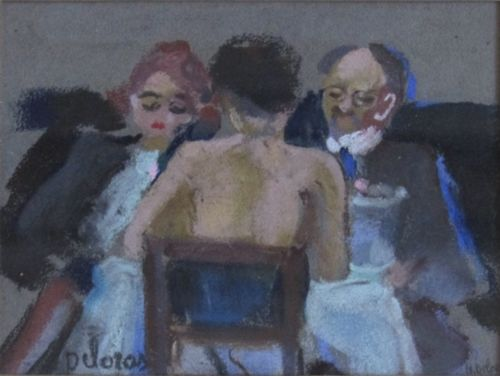 Henriette Deloras (French, 1901-1941), Café Scene, Pastel on Paper