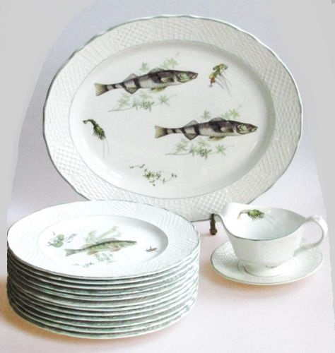 Marlborough Old English Ironstone Porcelain Fish Serving Set for 12