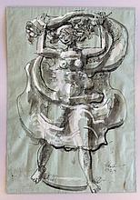 Milton Hebald (American, 1917-2015) Ink and Watercolor, 1979