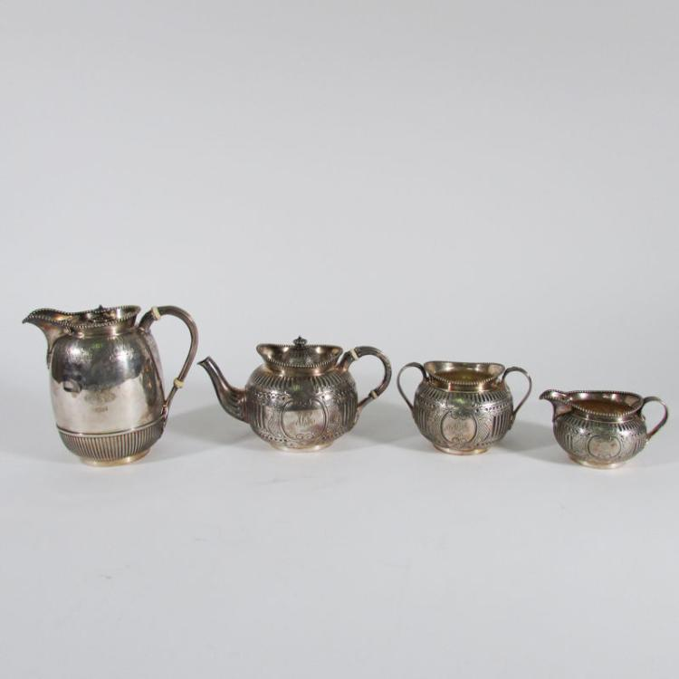 4 Pc. Antique Elkington English Engraved Silver Plate Tea and Coffee Set, C.1900