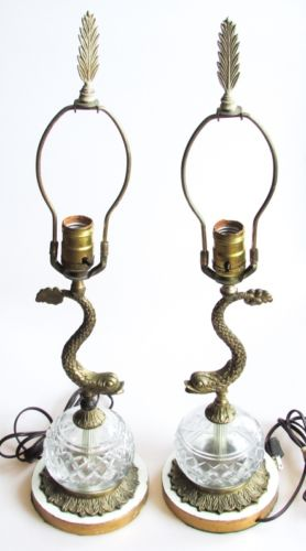 Pair of Vintage Brass Dolphin Form Lamps with Glass Fonts, Rewired