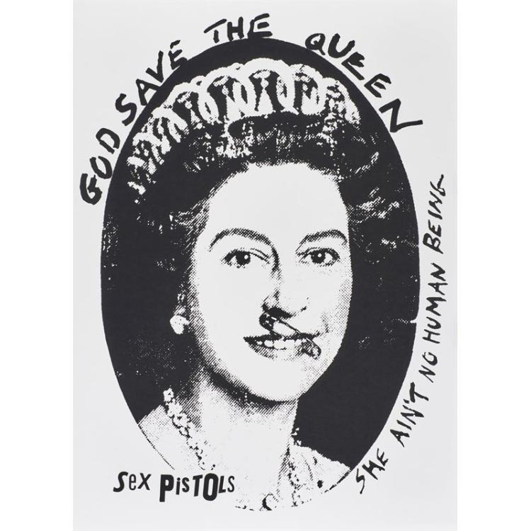 Jamie Reid (British, b.1947) God Save the Queen, Sex Pistols, Silkscreen, Black