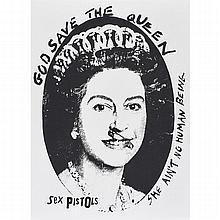 Jamie Reid (British, b.1947) God Save the Queen, Sex Pistols, Silkscreen, Black