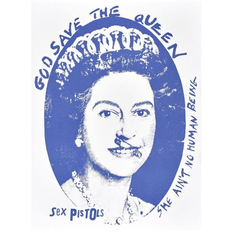 Jamie Reid (British, b.1947) God Save the Queen, Sex Pistols, Silkscreen, Blue