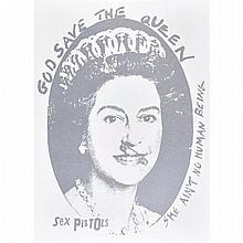 Jamie Reid (British, b.1947) God Save the Queen, Sex Pistols Silkscreen, Silver
