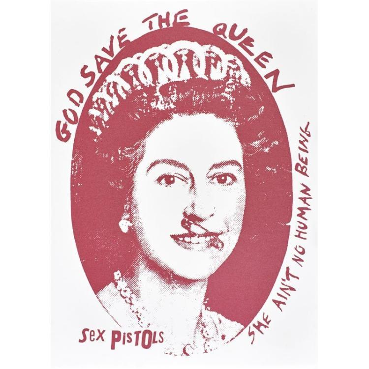 Jamie Reid (British, b.1947) God Save the Queen, Sex Pistols, Silkscreen, Red