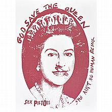 Jamie Reid (British, b.1947) God Save the Queen, Sex Pistols, Silkscreen, Red