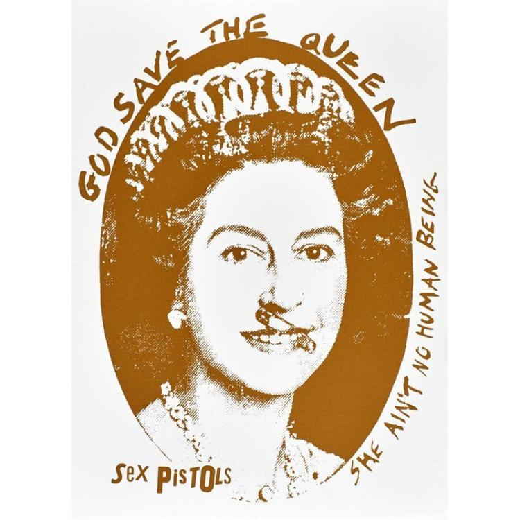 Jamie Reid (British, b.1947) God Save the Queen, Sex Pistols, Silkscreen, Gold