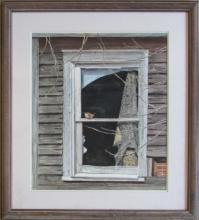 Marie T. Zukoff, Sparrow on Window, 1988, Watercolor