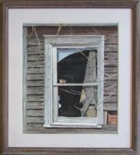 Marie T. Zukoff, Sparrow on Window, 1988, Watercolor