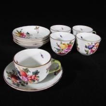 10-pc Set of Herend Porcelain Demitasse Cups & Saucers, Fruit and Flowers, BFR/1728