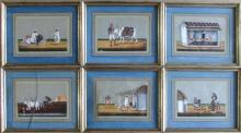6 Anglo-Indian Company School Gouache Paintings on Mica, 19th Century