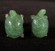 Pair: Chinese 14K Yellow Gold & Carved Green Jade Turtle Cufflinks, 18.4g