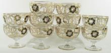 Set of 10 Antique Continental Enameled Glass Footed Dessert Bowls