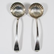 Pair: Antique Georgian Period English Silver Shell Bowl Sauce Spoons, 18th Century