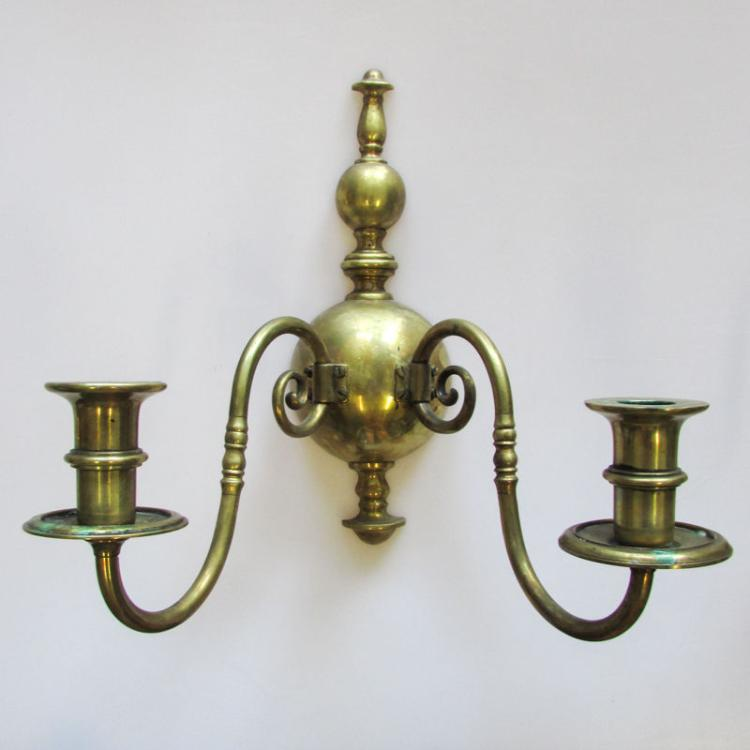 Pair: Vintage Gilt Metal Wall Sconces, Two-Light Candlestick