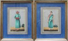 A Pair of Anglo-Indian Company School Miniature Paintings on Mica, 19th Century
