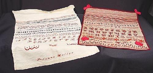 Two samplers: one with two alphabets, signed ''Susanna Heller, 1906in  18ft  x 15in. and embroidered apron with alphabet, signed ''Susanna Heller'', 23.5in  x 17in.