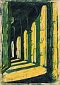 Ursula Fookes (1906-1991) The Cloister linocut