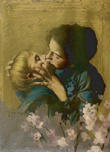 Arnaldo Ferraguti (1862-1925) Amore materno Olio
