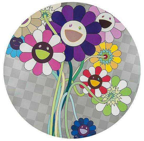 Takashi Murakami (b.1962) Purple Flowers in a