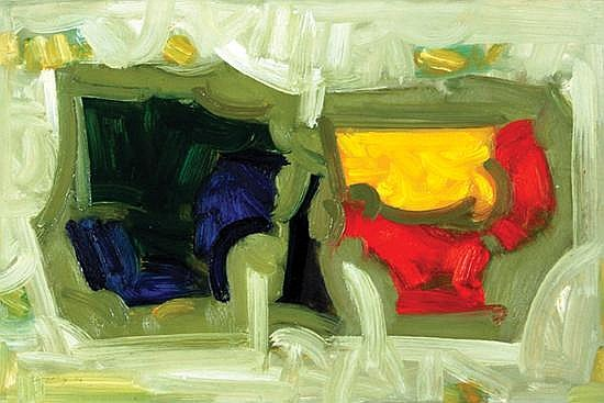 Bob Crossley (b. 1912) two shapes, 2004 oil on