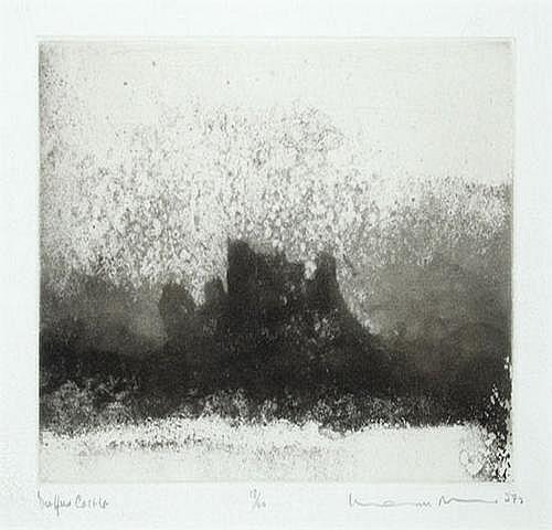 Norman Ackroyd (b.1938) duffus castle; harlech two