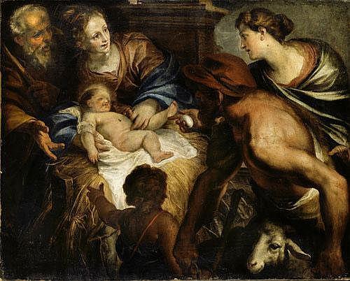 Domenico Piola (Genova 1624 - 1709) Adorazione dei