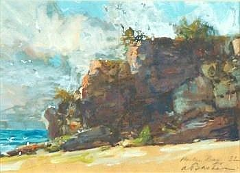 Alfred Theodore Joseph Bastien (1873-1955) harlyn bay signed, titled and dated 32 watercolour and gouache on paper 20.5 by 28.5cm., 8 by 10.75in. E200-300 Provenance: Betty Heath, Eastbourne (a gift from the artist) Acquired from the above by the