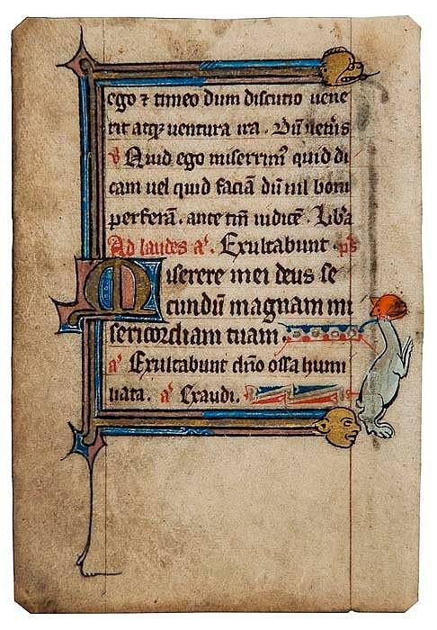 Book of Hours, single leaf, illuminated manuscript
