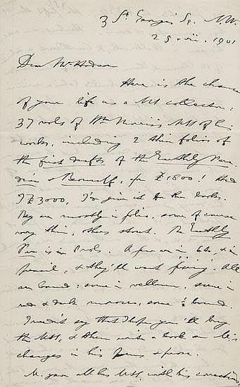 Furnivall (F.J.) Twenty three autograph letters