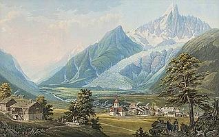 Jean Dubois (1789-1849) Chamouni et le glacier des