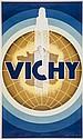 DEVAUX, Paul VICHY lithograph in colours, 1938,