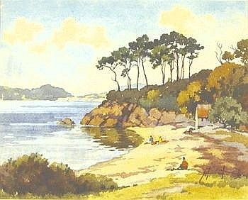 [ Greece ] Hickling (Edward, 1913-1998) Durgan Cove, Helford River, watercolour, 355 x 440 mm, signed, framed Edward Hickling studied at Nottingham School of Art and privately under Arthur Spooner. After the war, during which he was a POW, he became
