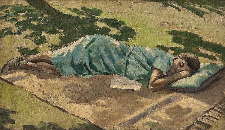 Maurice Field (1905-1988) Rest on the Lawn oil on canvas, signed on verso, 30cm x 51cm  (11 3/4 x 20 in)      Condition report: small repair to centre of canvas otherwise overall condition good