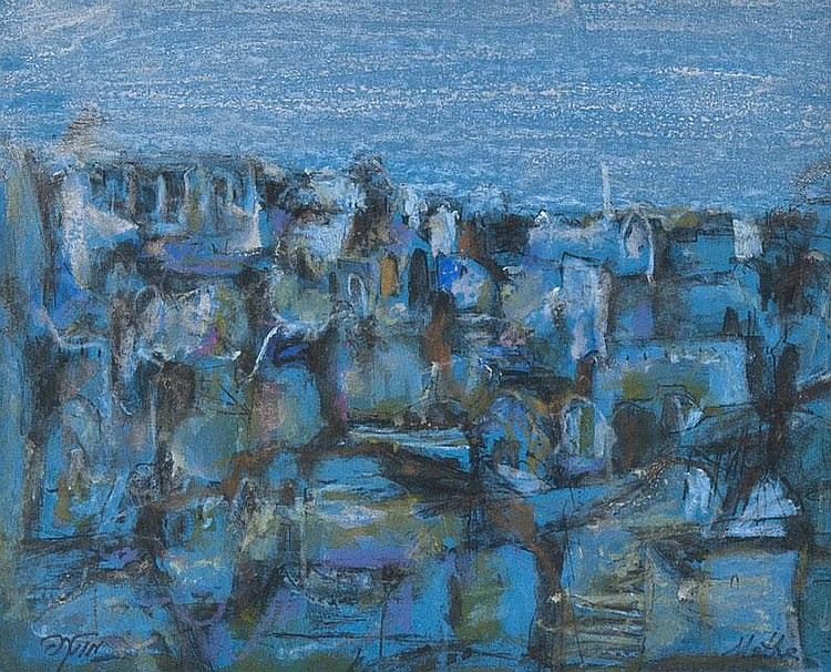 Motke Blum (b.1925) 2 views of Jerusalem watercolour, gouache and pastel, one on blue paper, both signed in roman and hebrew script, 22 x 28 cm (8 3/4 x 11 in), the other on buff paper, 16 x 25.5 cm (6 1/4 x 10 in) (2)