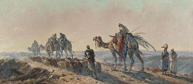 Cavaliere Antonio Scognamiglio (19th century) Camel train passing a shepherd and flock oil on canvas, signed lower right, 41 x 91 cm (16 x 35 3/4 in)