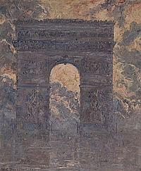 William Slocum Davenport (American, b.1868) Arc de Triomphe oil on canvas, signed and dated XXIII (1923), lower left, 64.5 x 54 cm (25 1/2 x 21 1/4 in)