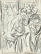 Duncan Grant (1885-1978) Men in a bar pencil drawing, signed with initials in ink lower right, 20 x 15.5 cm (6 x 8 in),  Ariosto, Click for value
