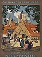 LADUREAU, Pierre (1882-1974) NORMANDIE lithograph in colours, printed by A. Norgeu, Paris condition A-, backed on linen 39 1/2 x 29 1/2in. (100 x 75cm.), Pierre Ladureau, Click for value