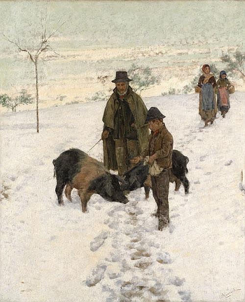 Nicolò Cannicci (1846-1906) In inverno firmato 'N