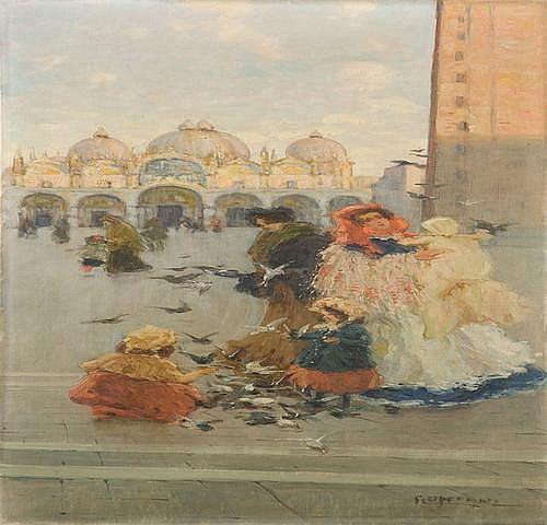 Ugo Flumiani (1876-1938) Venezia, scena di vita in