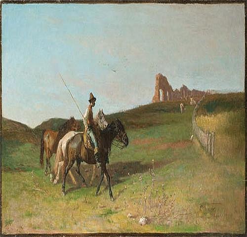 Giuseppe Raggio (1823-1916) Buttero con cavalli