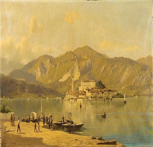 Silvio Poma (1840-1932) Imbarcadero sul lago