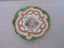 19th century hand painted portrait plate with a