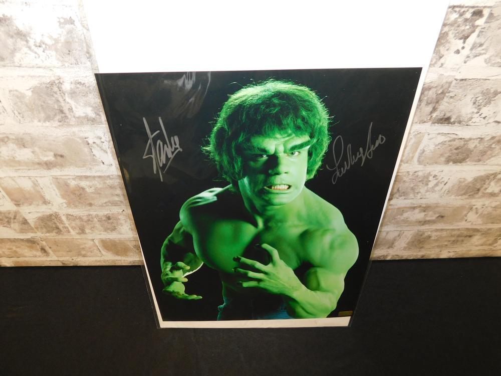 Lou Ferrigno/Stan Lee Autographed Hulk Photo